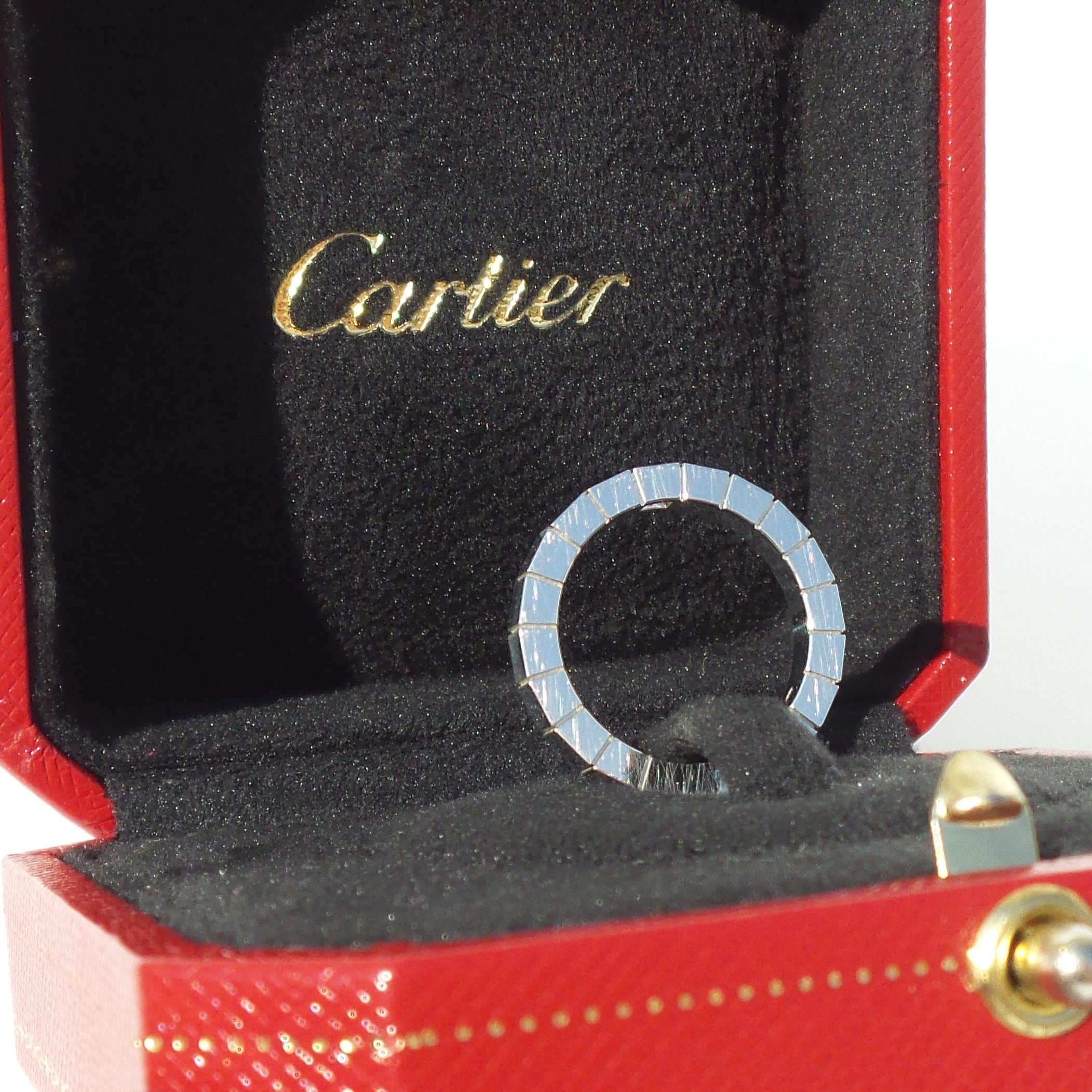 CARTIER 18K White Gold Diamond Lanières Stack Ring Wedding Band 49 4.75 Box COA
