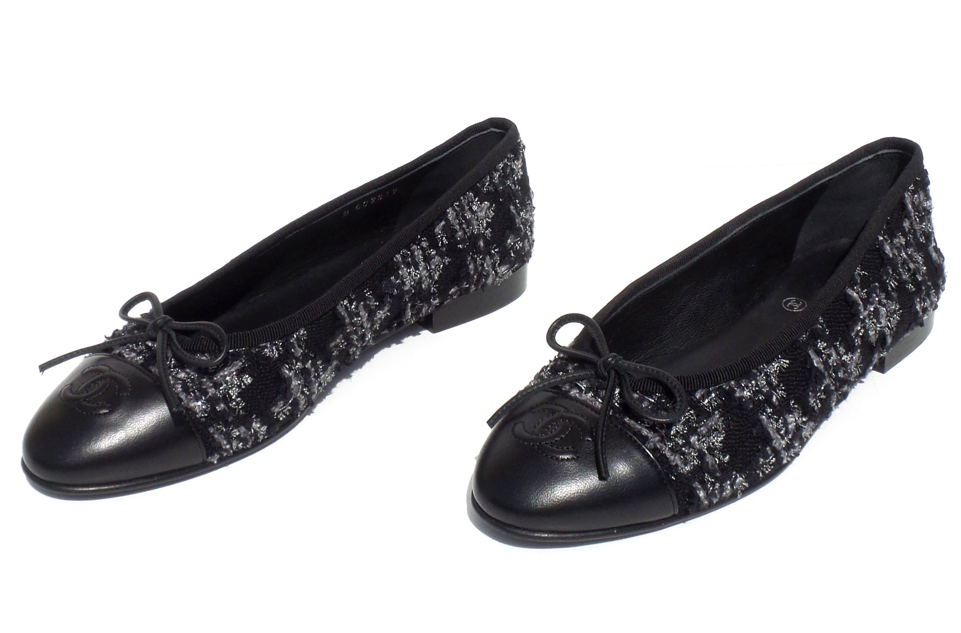 CHANEL Black Gray Silver Tweed Lambskin Leather CC Bow Cap Toe Ballet Flats 37.5