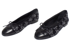 'Sold' CHANEL Black Gray Silver Tweed Lambskin Leather CC Bow Cap Toe Ballet Flats 37.5