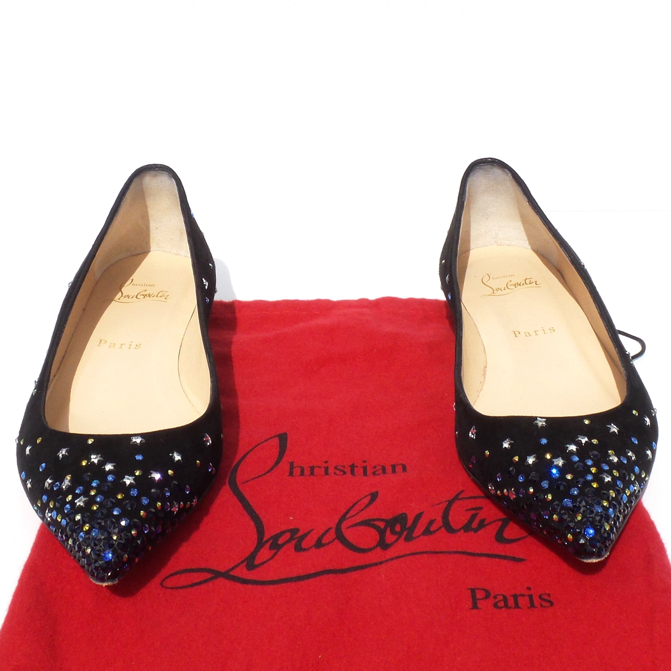 c7f264f91d92 $995 CHRISTIAN LOUBOUTIN Gravitanita Black Suede Star Crystal Ballet Flats  37.5