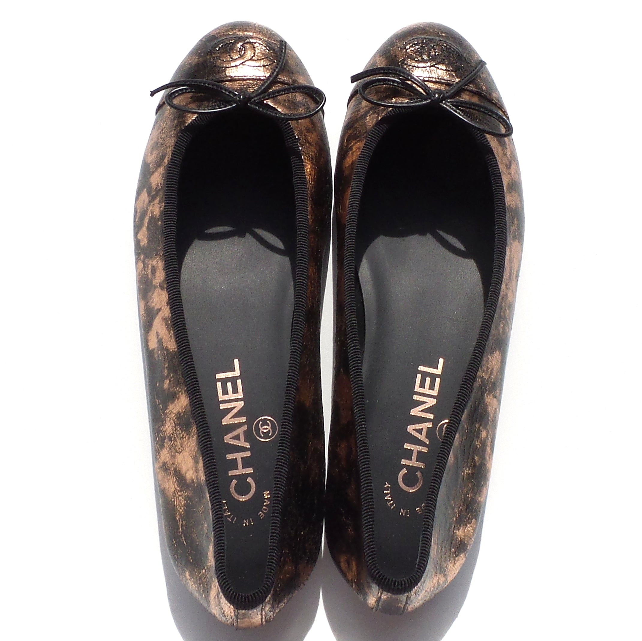 CHANEL Rose Gold Bronze Laminated Suede Goatskin CC Bow Cap Toe Ballet Flats 38