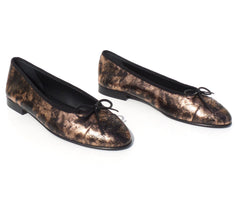 'Sold' CHANEL Rose Gold Bronze Laminated Suede Goatskin CC Bow Cap Toe Ballet Flats 38