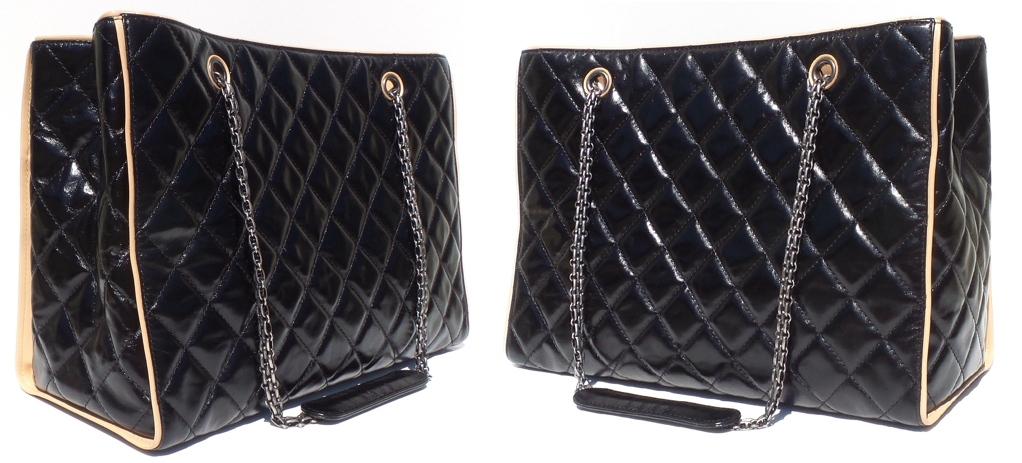 051529100ee2 CHANEL Black Glazed Quilted Leather Beige 2.55 Reissue Grand Shopping Tote  Bag