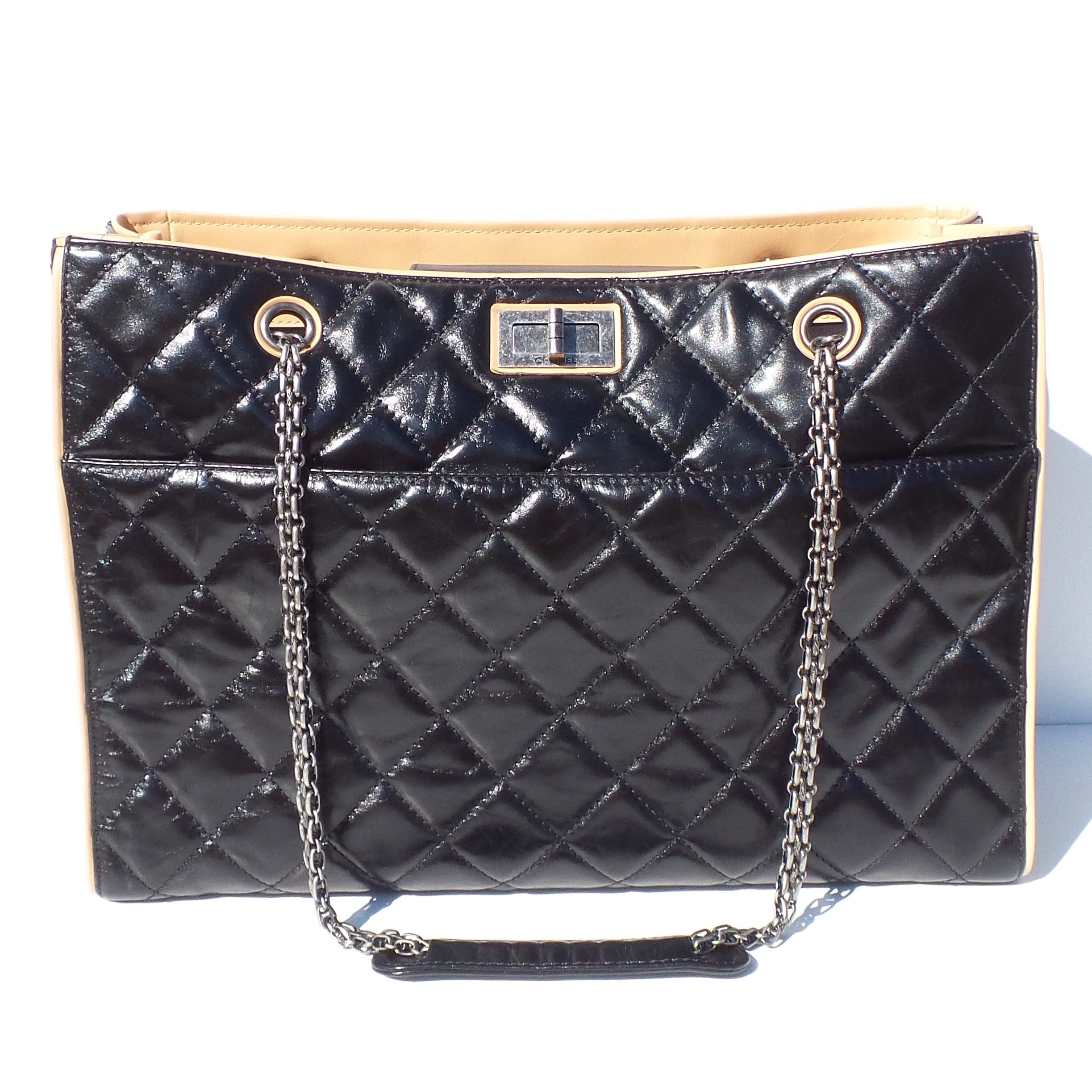99219539ef5 CHANEL Black Glazed Quilted Leather Beige 2.55 Reissue Grand Shopping Tote  Bag