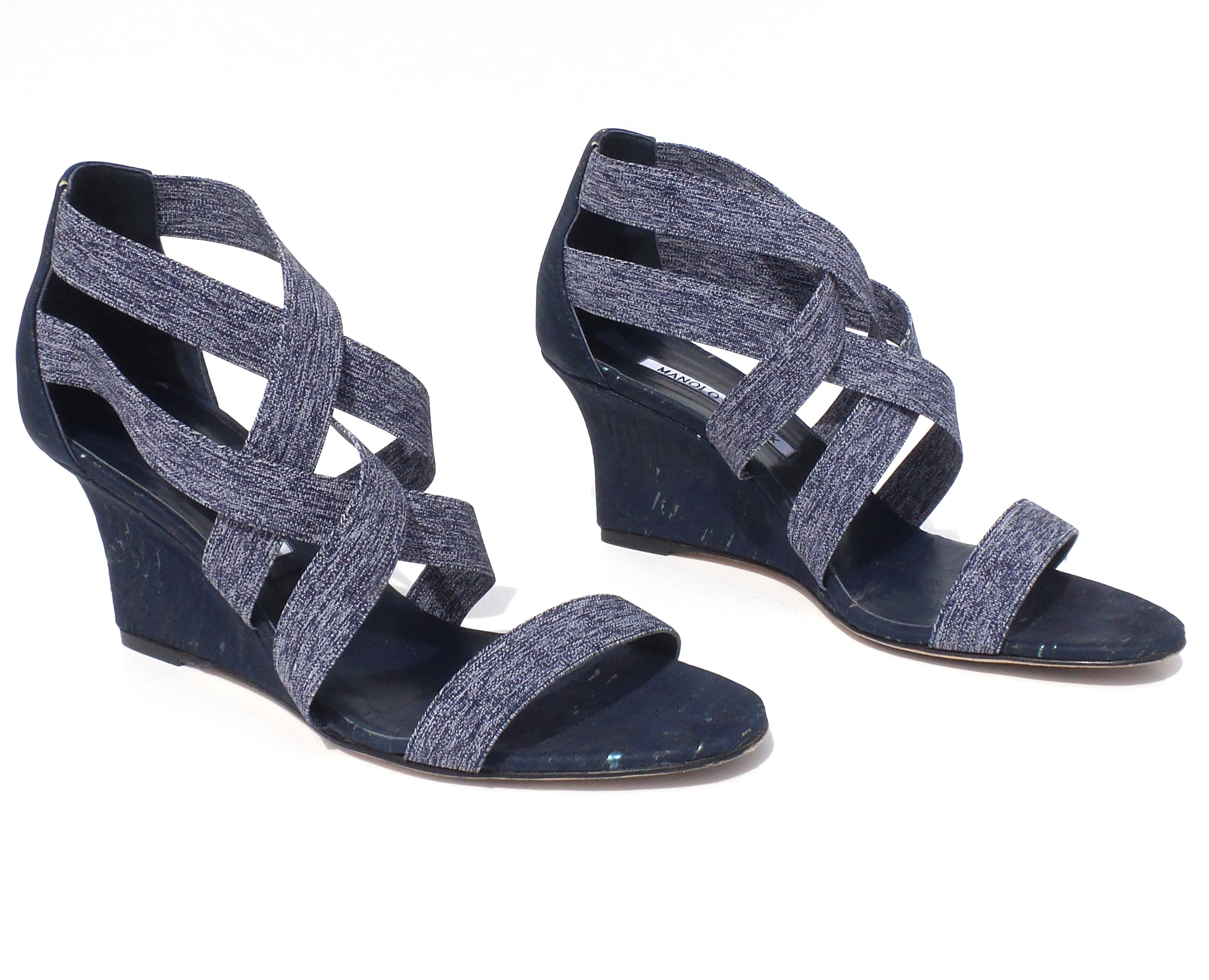 MANOLO BLAHNIK Glassa Blue Cork Denim Strappy Open Toe Wedge Sandals Pumps 38 EC