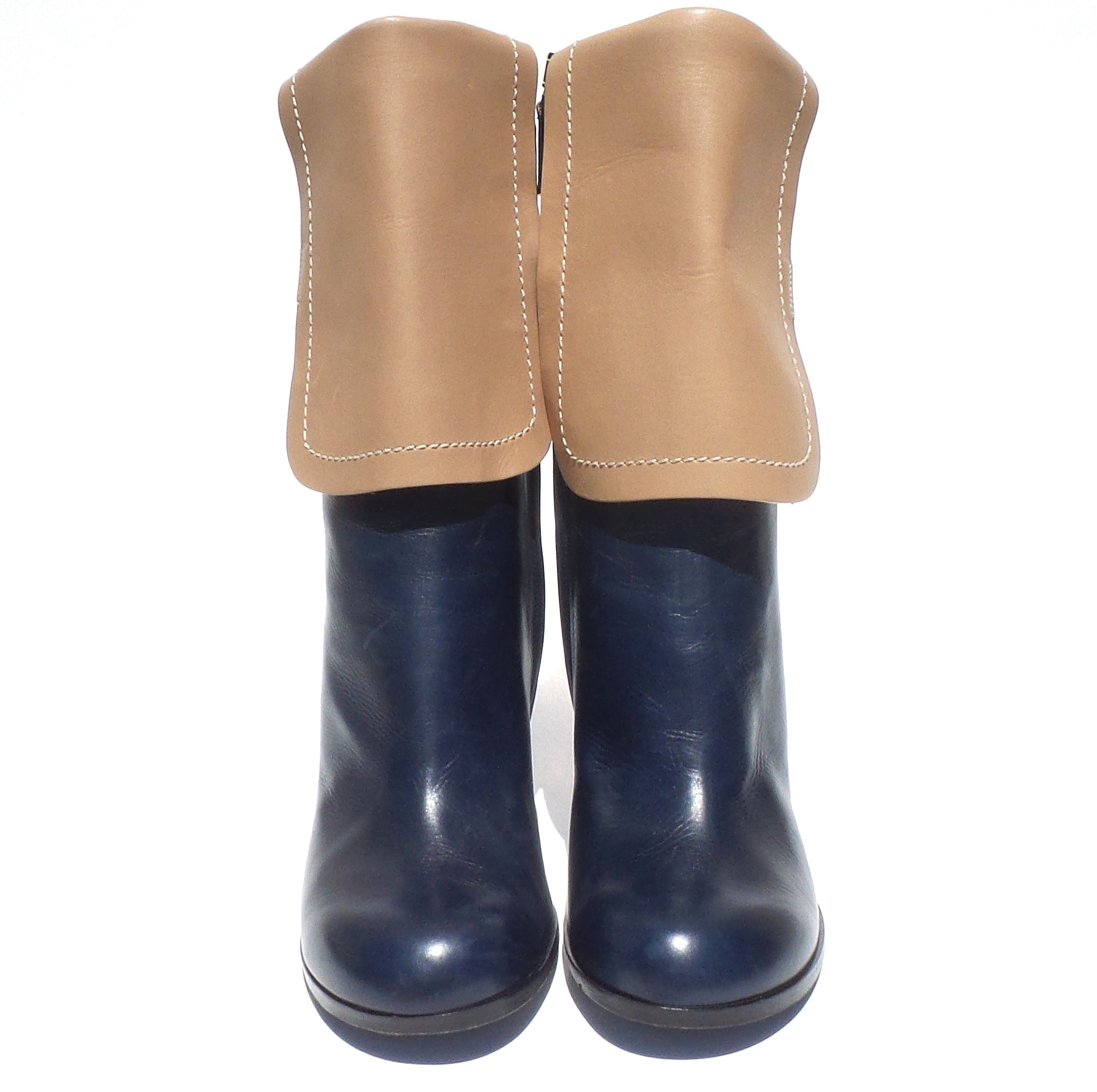 JIL SANDER Two Tone Navy Blue Tan Leather Rectangle Heel Mid Calf Zip Boots 39