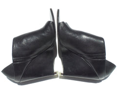 ALEXANDER WANG Black Leather Alla Peep Toe Silver Heel Wedge Sandals Booties 37