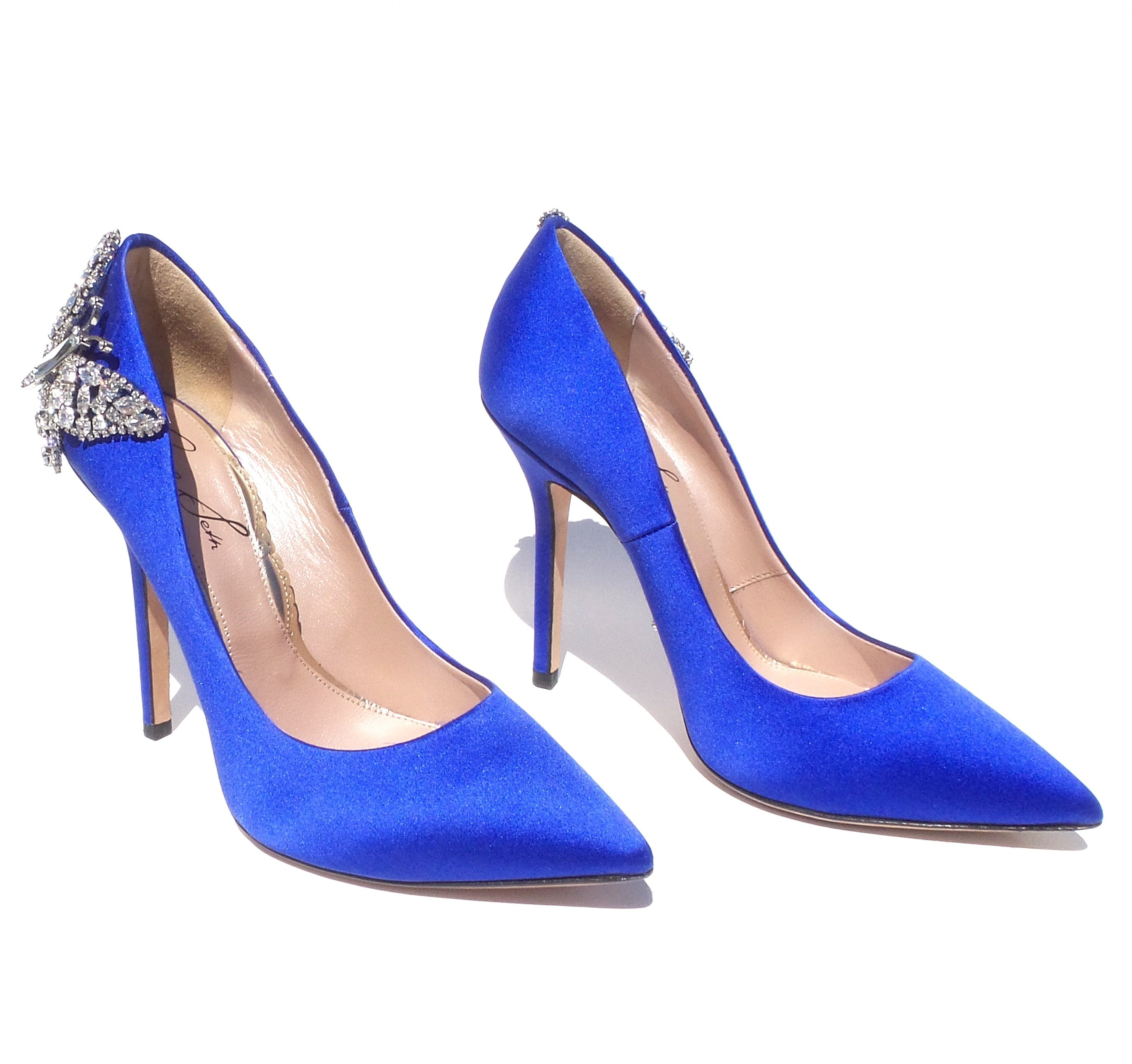 ARUNA SETH Pointy Farfalla Blue Satin Crystal Butterfly Heels Bridal Pumps 36 EC