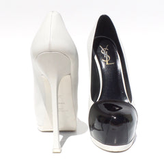 'Sold' YVES SAINT LAURENT White Leather Black Patent Cap Toe Tribute Two Heels Pumps 37