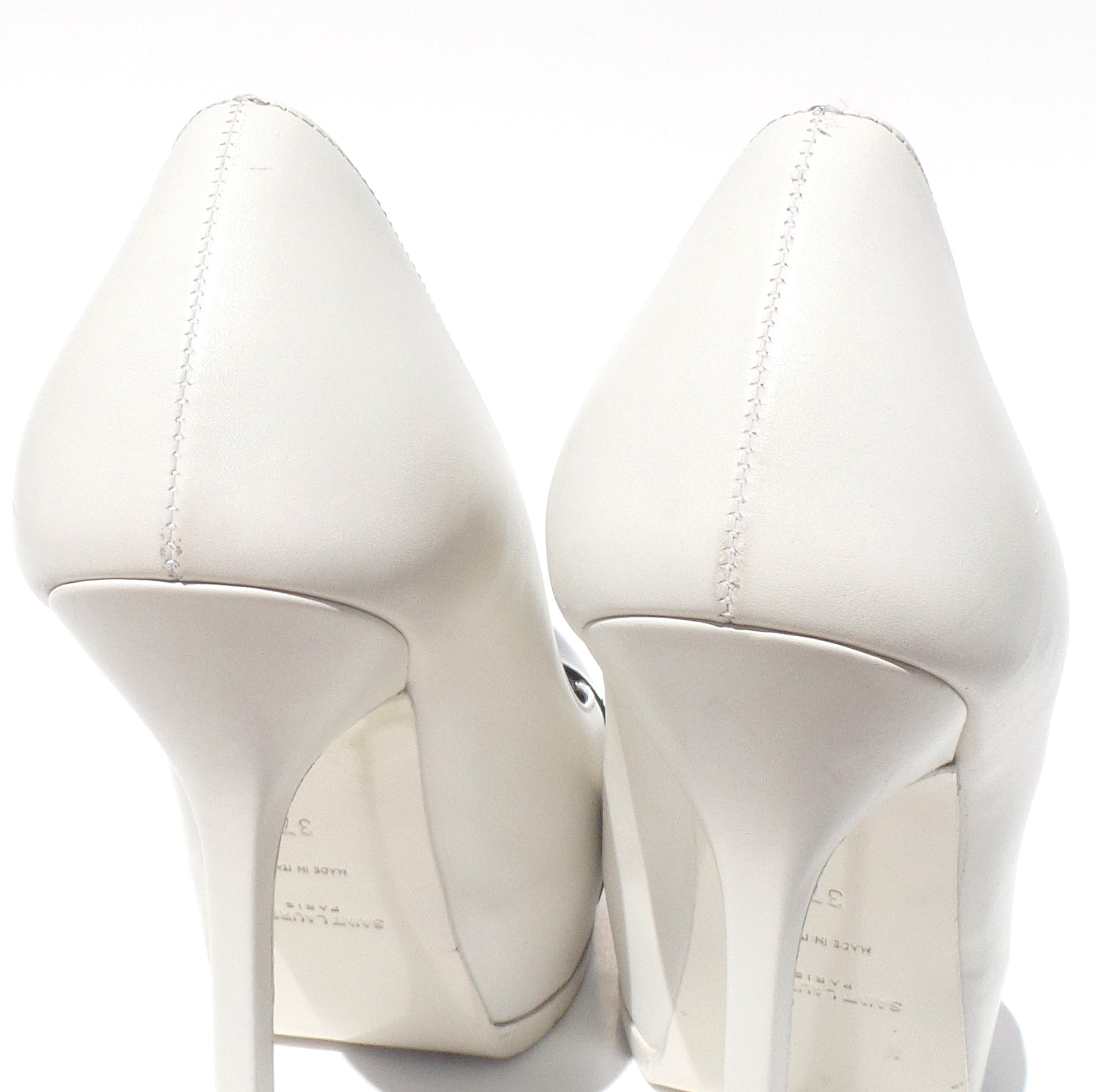 YVES SAINT LAURENT White Leather Black Patent Cap Toe Tribute Two Heels Pumps 37