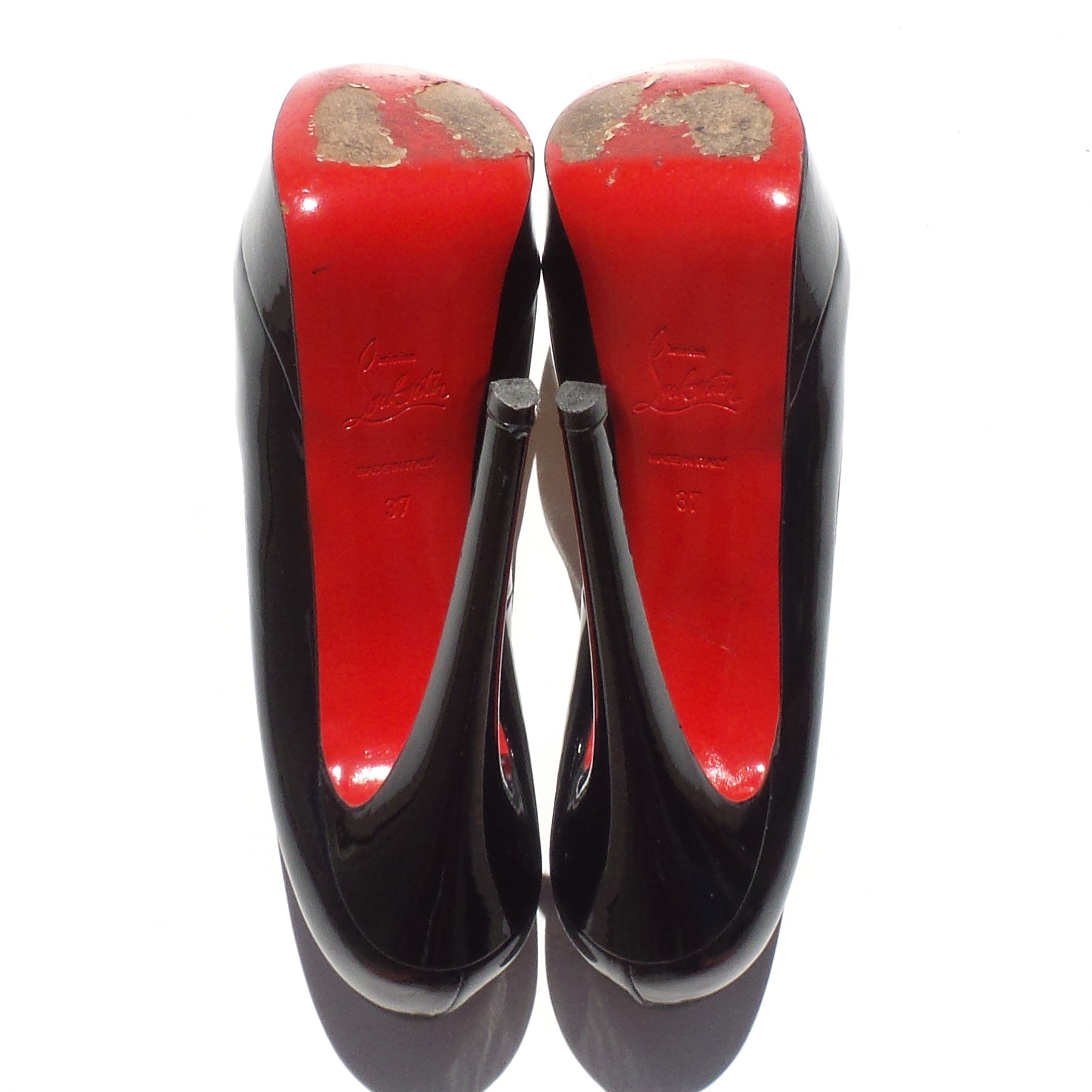 'Sold' $945 CHRISTIAN LOUBOUTIN Black Patent Leather Lady Peep 150 Platform Pumps 37 GC