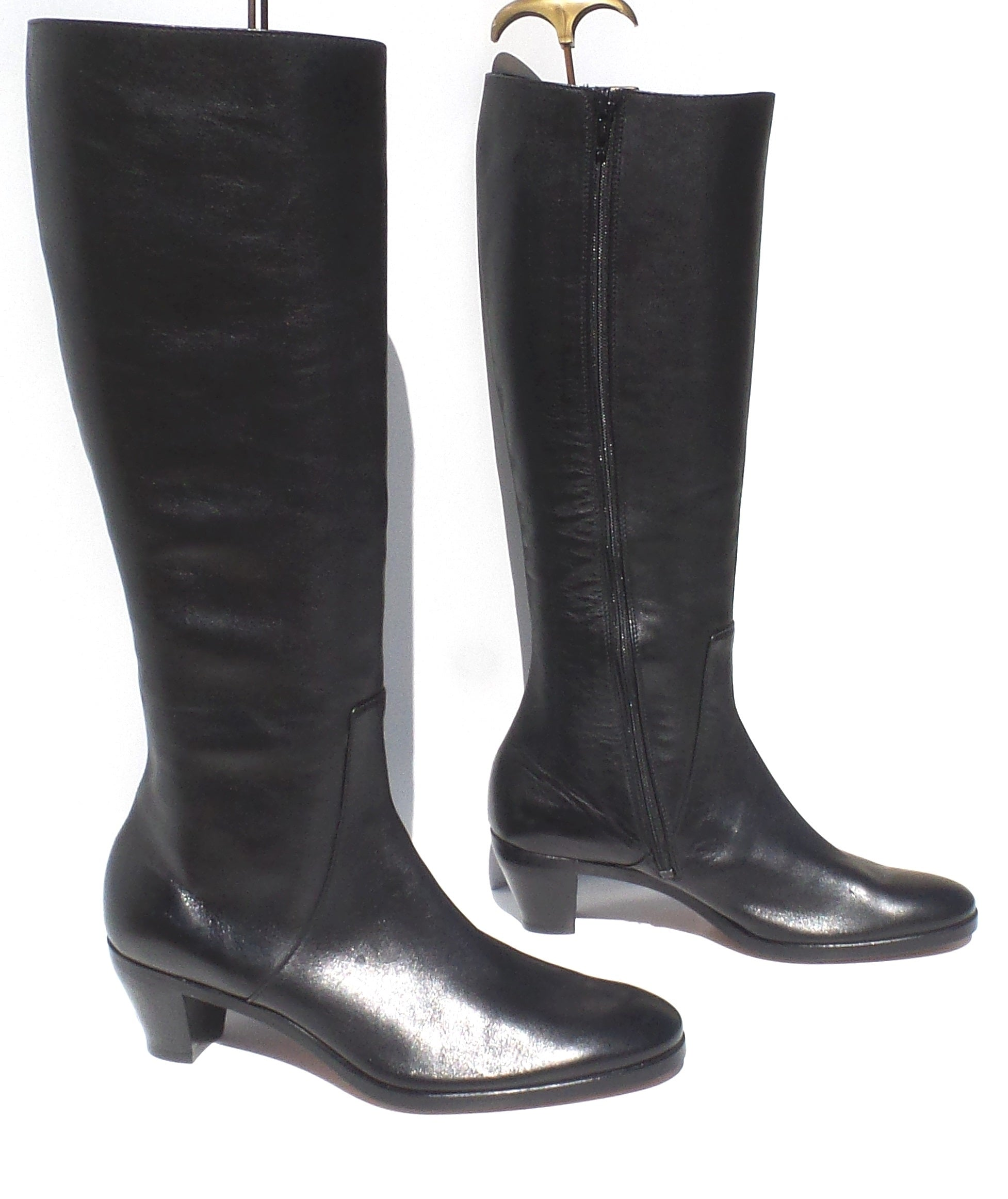 GRAVATI Italy Black Leather Side Zip Stacked Block Heel Knee Boots 7.5 M 4078