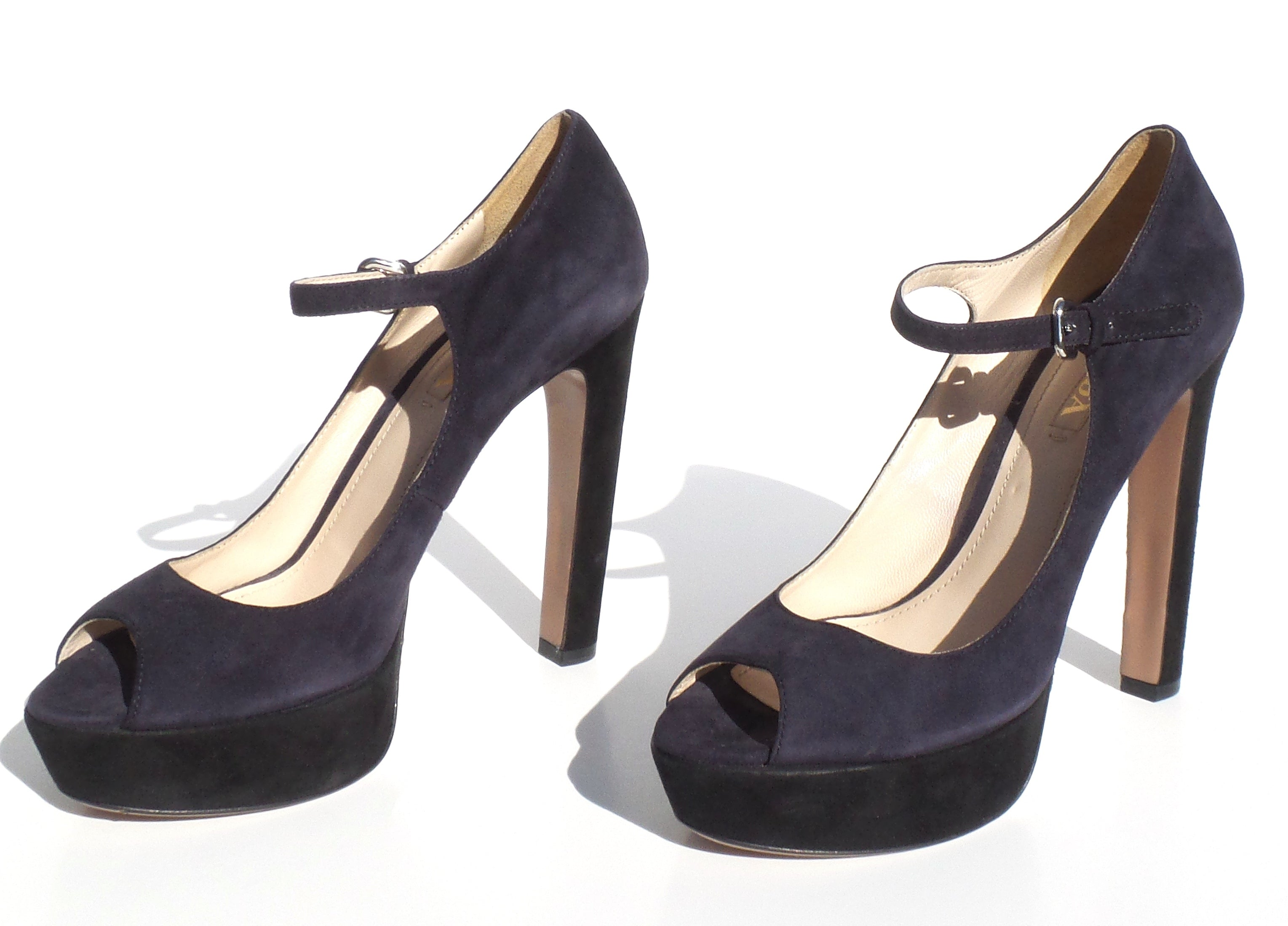 PRADA Navy Blue Black Suede Colorblock Platform Peep Toe Ankle Strap Sandals 40