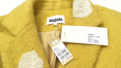 'Sold' HAGAHI FW18 Yellow Ivory Floral Embroidered Mohair Long Flare Tulip Hem Coat 2