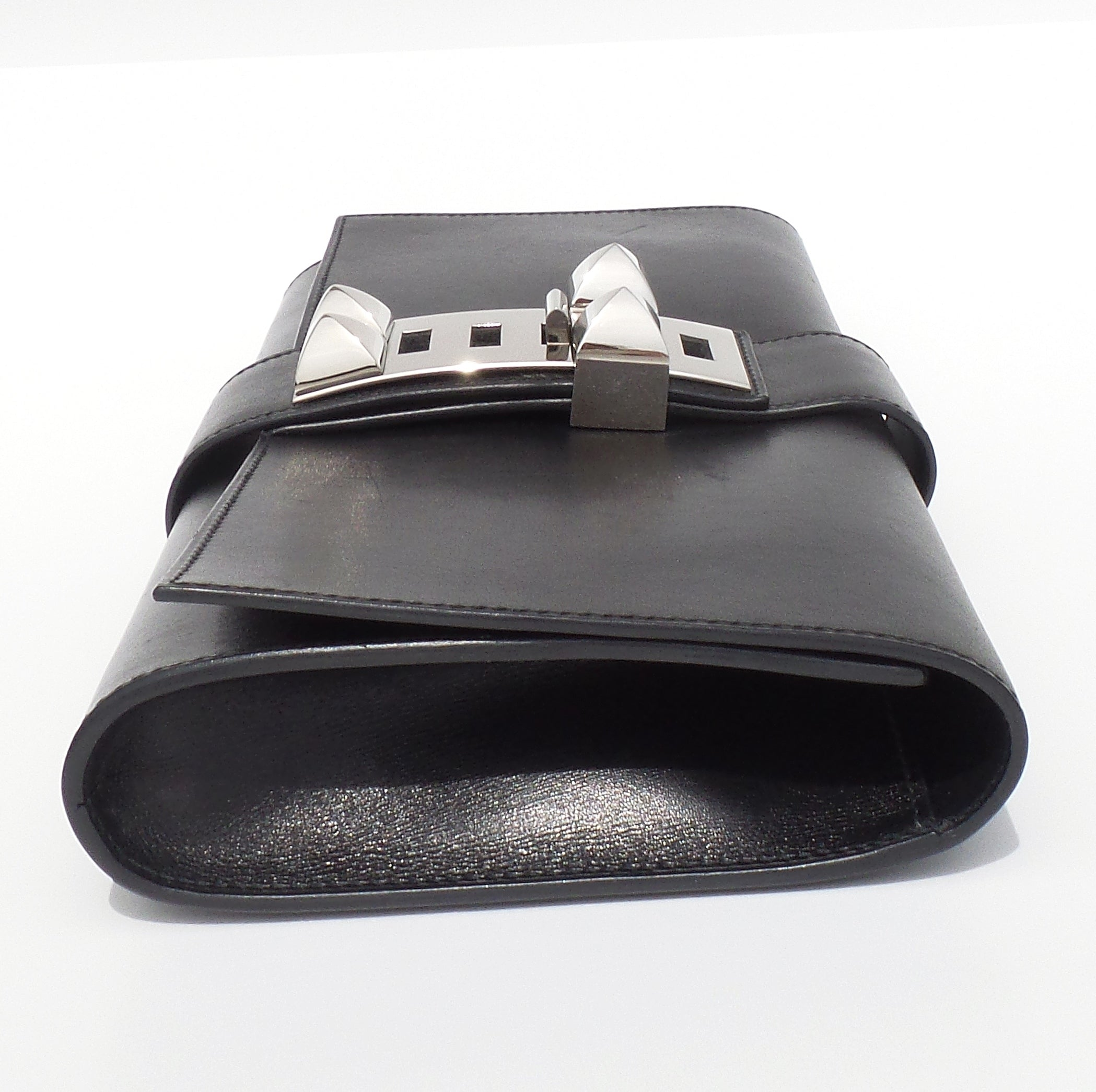 'Sold' HERMES Medor 29 Black Box Leather Palladium Hardware Collier De Chien Clutch CDC