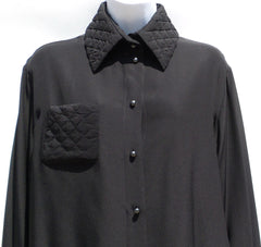 'Sold' CHANEL 15B Black Silk Crepe de Chine Gray Pearl CC Button Quilted Blouse 40