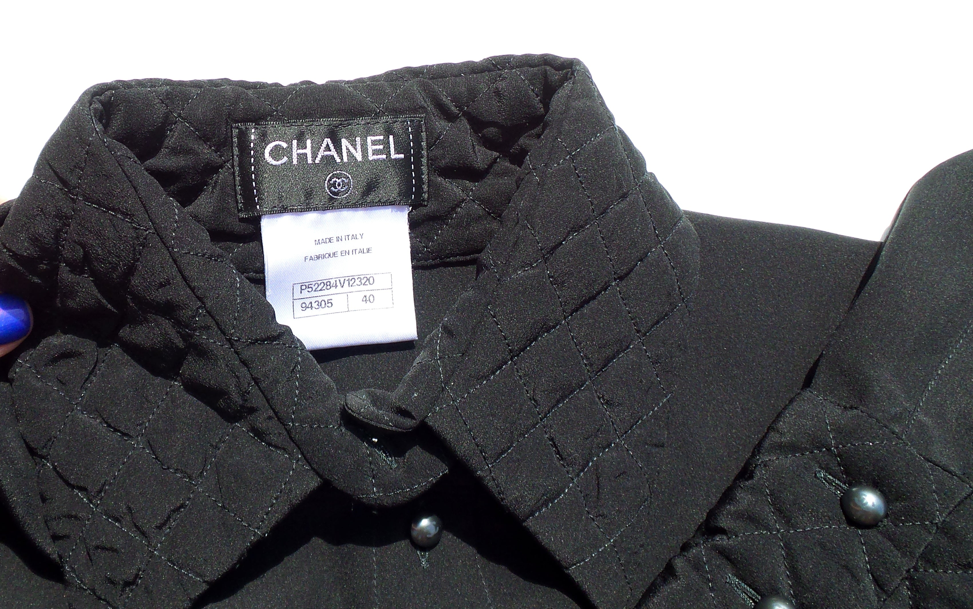 CHANEL 15B Black Silk Crepe de Chine Gray Pearl CC Button Quilted Blouse 40