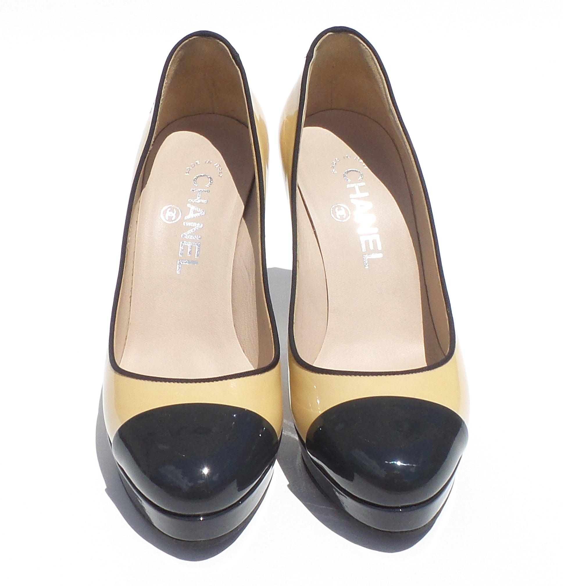 5a985e35a CHANEL Beige Black Navy Patent Leather Cap Toe Platform Silver Heels Pumps  36.5
