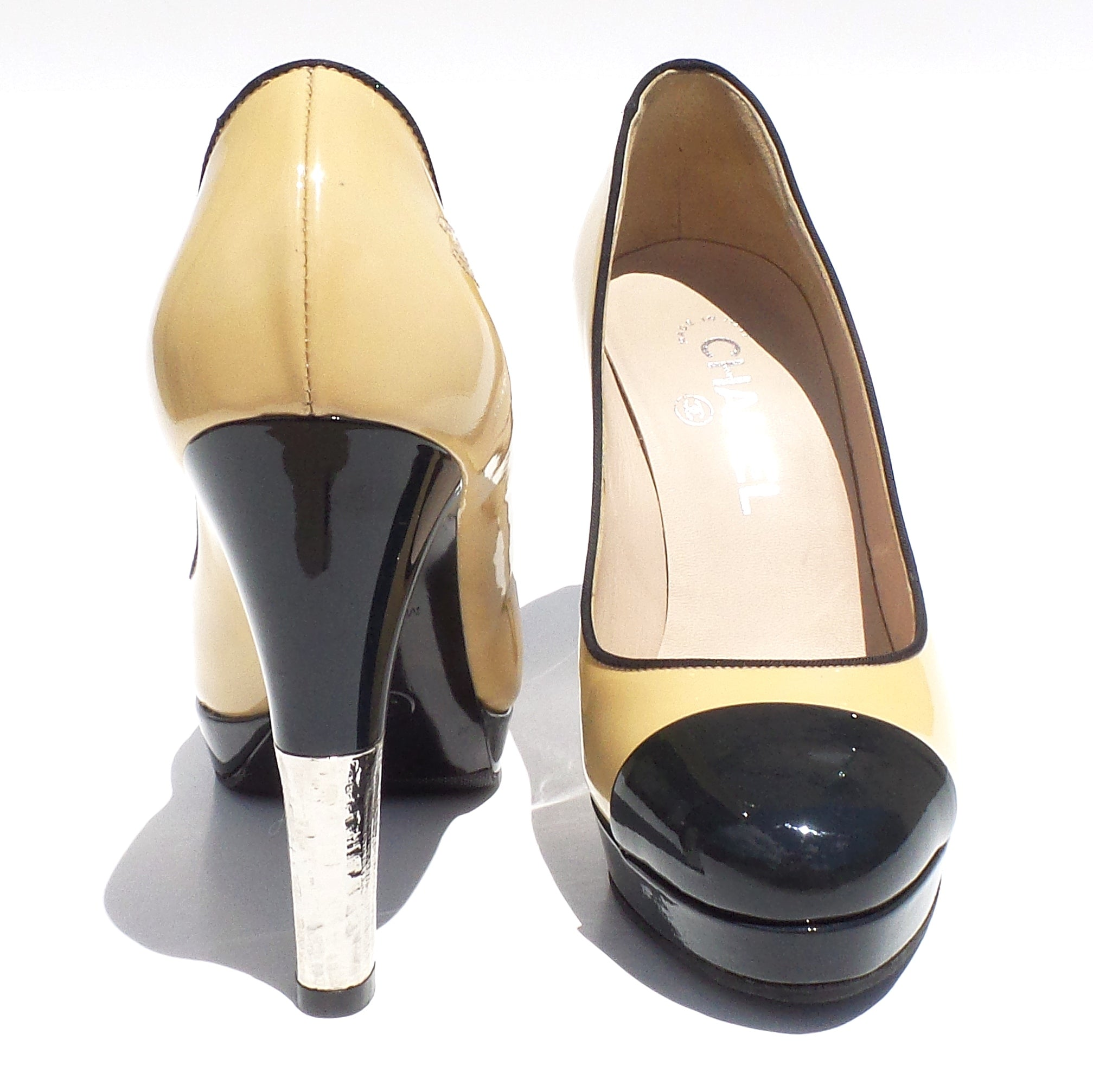 057258c76e1 CHANEL Beige Black Navy Patent Leather Cap Toe Platform Silver Heels Pumps  36.5