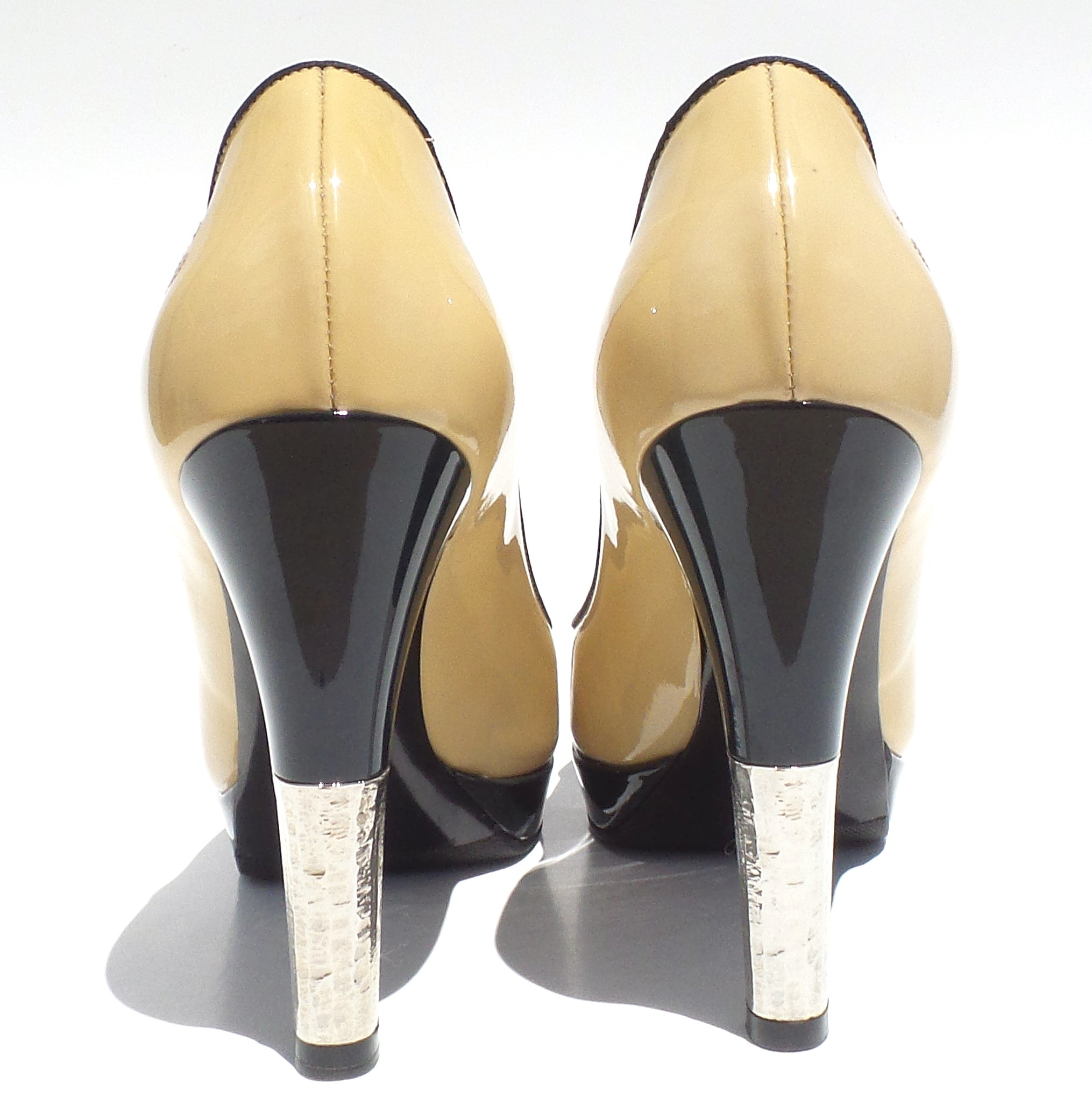e4f967433b CHANEL Beige Black Navy Patent Leather Cap Toe Platform Silver Heels Pumps  36.5