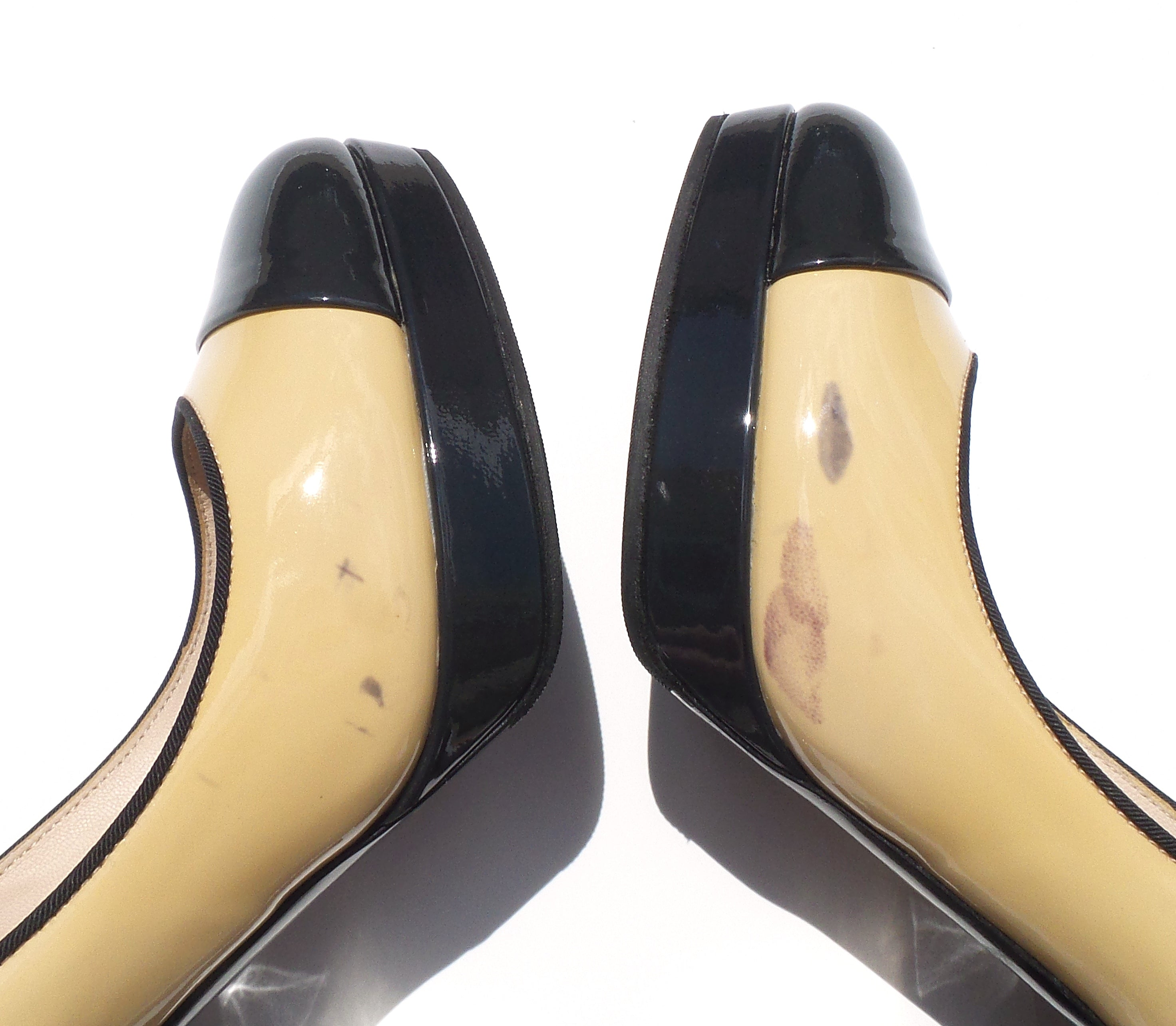 CHANEL Beige Black Navy Patent Leather Cap Toe Platform Silver Heels Pumps 36.5