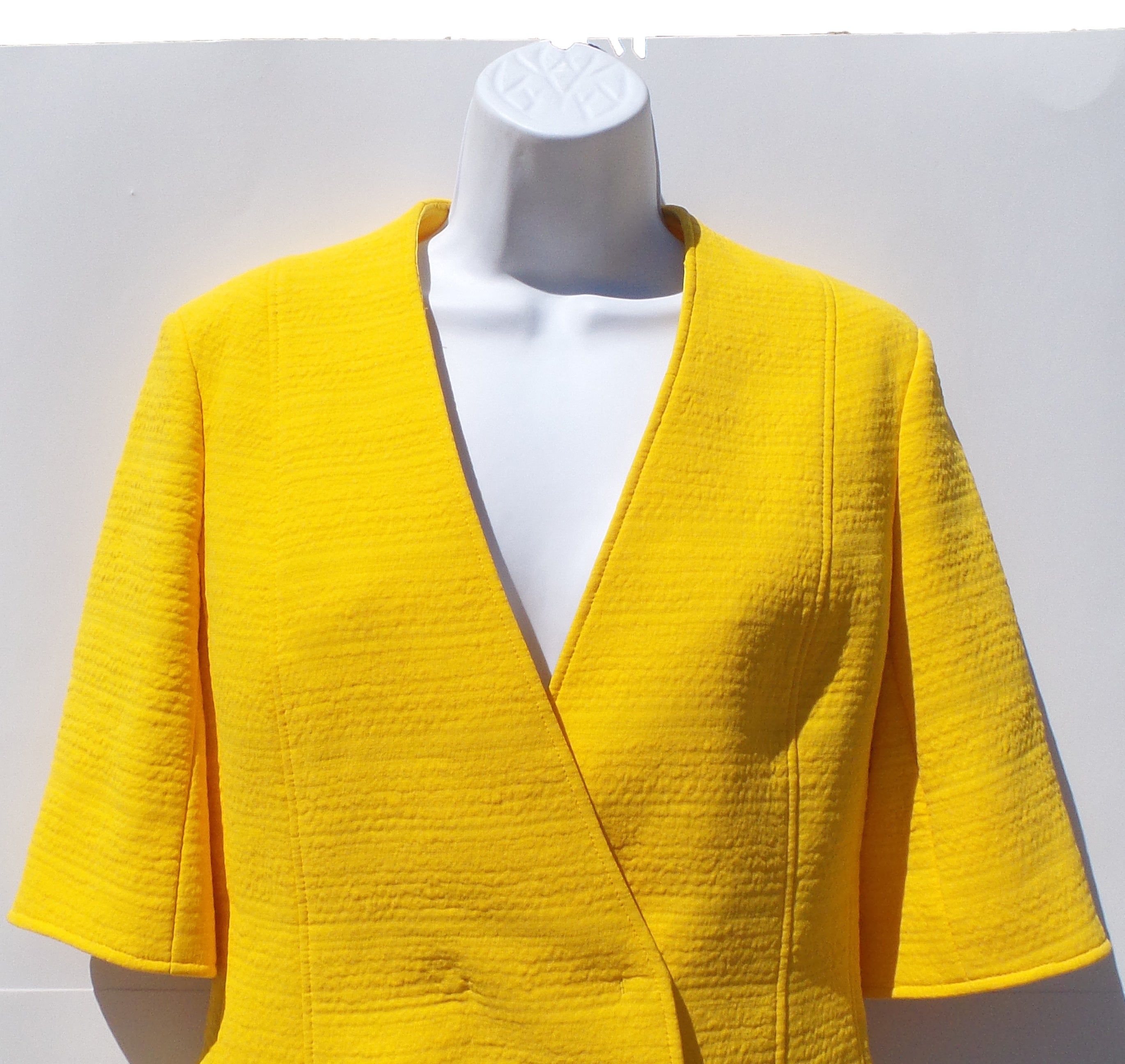 AKRIS Ollon Yellow Cotton Blend V Neck Short Sleeve Blazer Jacket 6 FR38 $2990