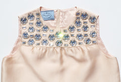PRADA Champagne Peach Satin Crystal Embellished Sleeveless Shift Dress S 36 38