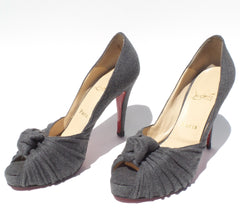 'Sold' CHRISTIAN LOUBOUTIN Gray Flannel Lady Gres Twist Knot Peep Toe Platform Pumps 39