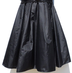 DOLCE & GABBANA Black Sequin Grosgrain Ruched Bust Pleated Skirt Dress LBD IT 42