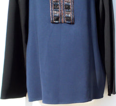 LANVIN Hiver 2015 Navy Blue Black Long Sleeve Bead Embellished Blouse Top 40 GUC