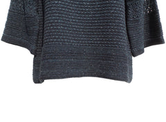 'Sold' HERMES Paris Marled Teal Black White Flecked Cotton Silk Knit Sweater Top 40 GUC