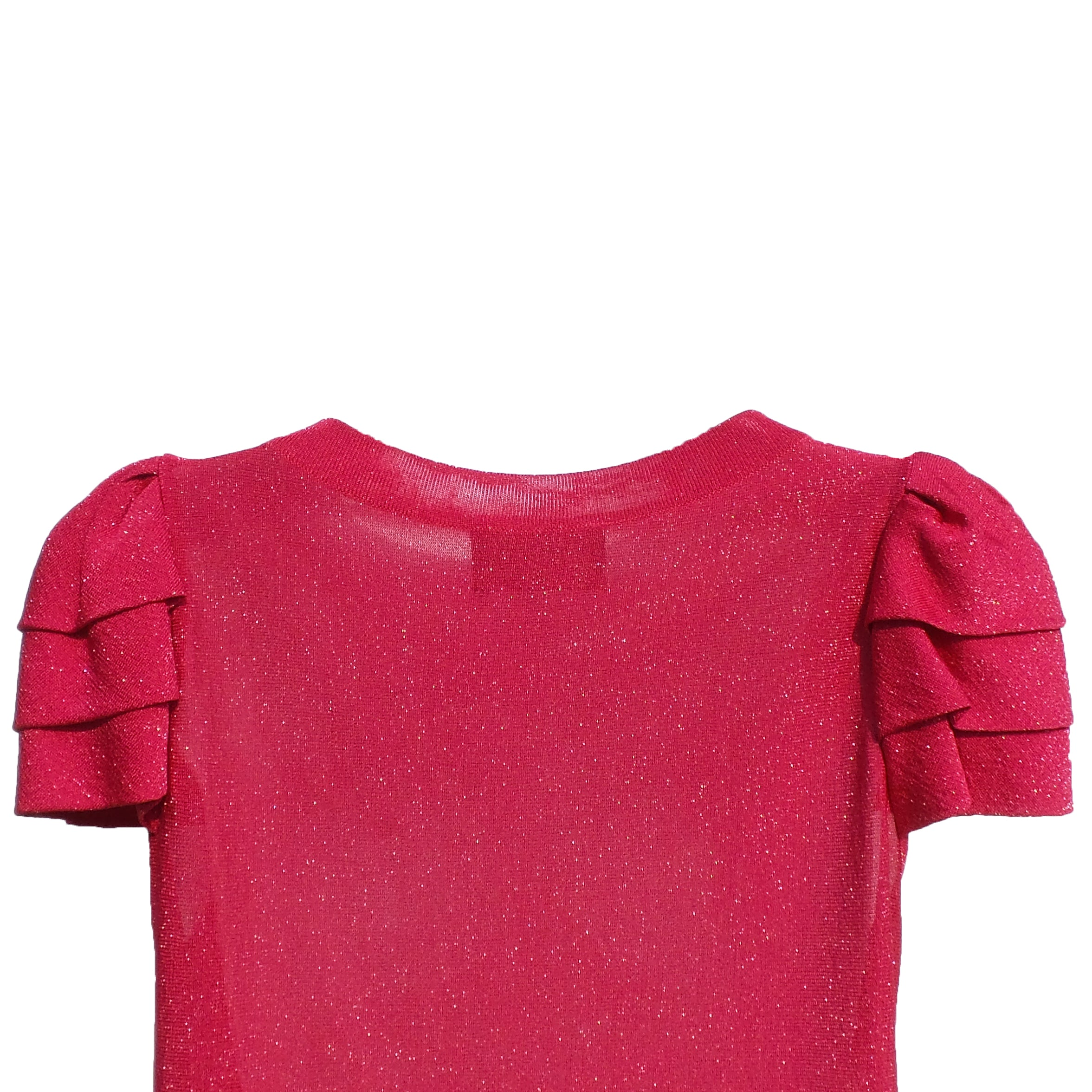 CHANEL 09P Metallic Raspberry Pink Tiered Short Sleeve Pleated Tunic Dress S GUC