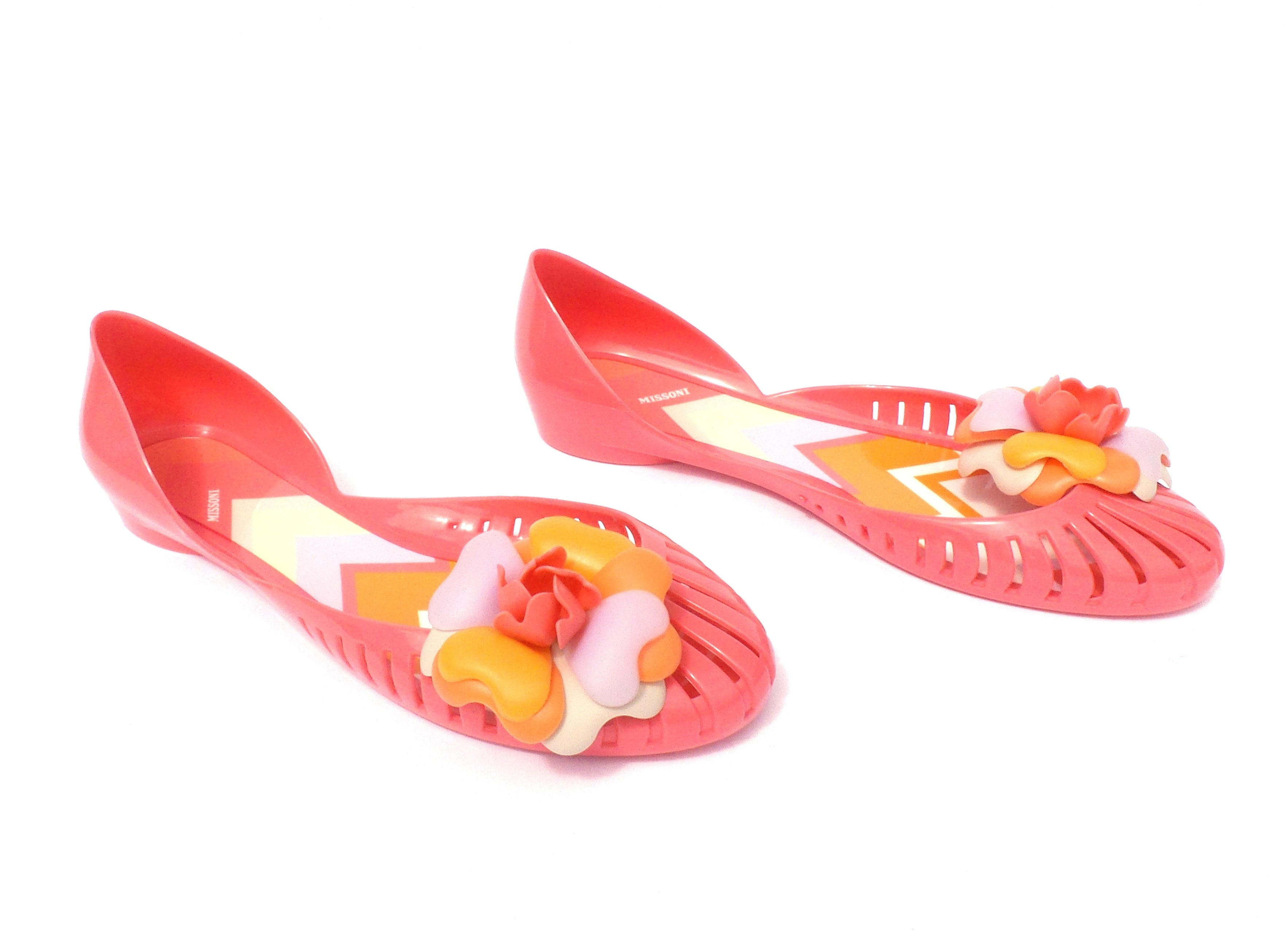 MISSONI Pink Cutout Multi Color Flower Round Toe d'Orsay Jelly Rubber Flats 36