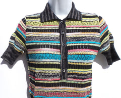 M MISSONI Black Multi Point Collar Buttoned Short Sleeve Mixed Knit Top IT 42 M