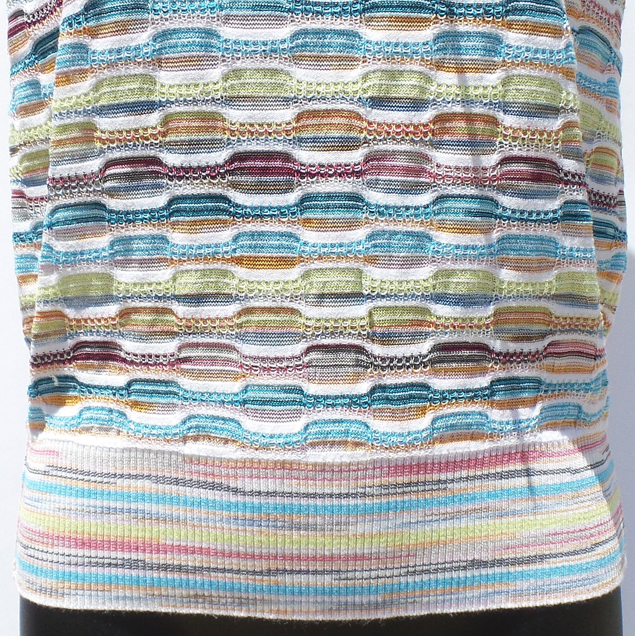 M MISSONI White Multi Striped Knit Scoop Bow Neck Short Sleeve Knit Top IT 42 GC