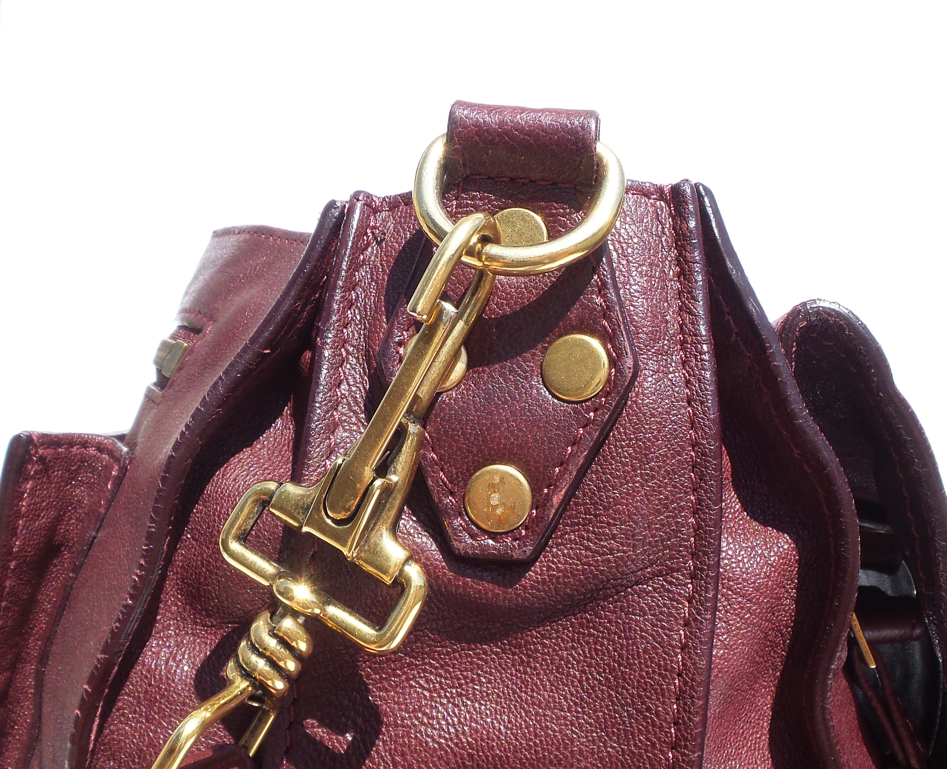 PROENZA SCHOULER Burgundy Wine Leather Gold HW Large PS1 Satchel Messenger Bag
