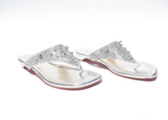 CHRISTIAN LOUBOUTIN Strass Spikes Silver Leather Crystal Thong Flat Sandals 39