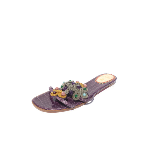 'Sold' $795 MANOLO BLAHNIK Sturluspa Blue Floral Embroidered Canvas Flat Slide Sandals 39.5