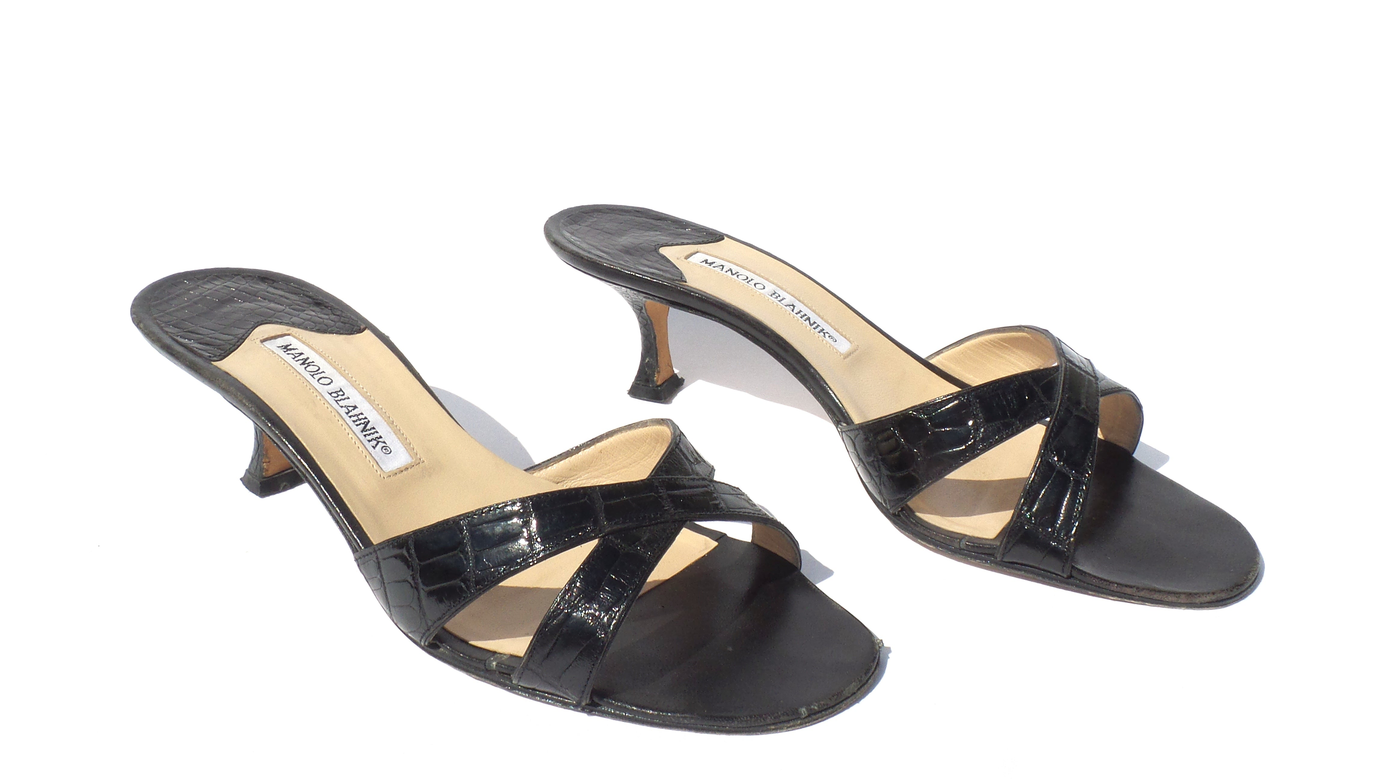 'Sold' MANOLO BLAHNIK Callamu Black Crocodile Alligator Crisscross Slide Sandals 38.5