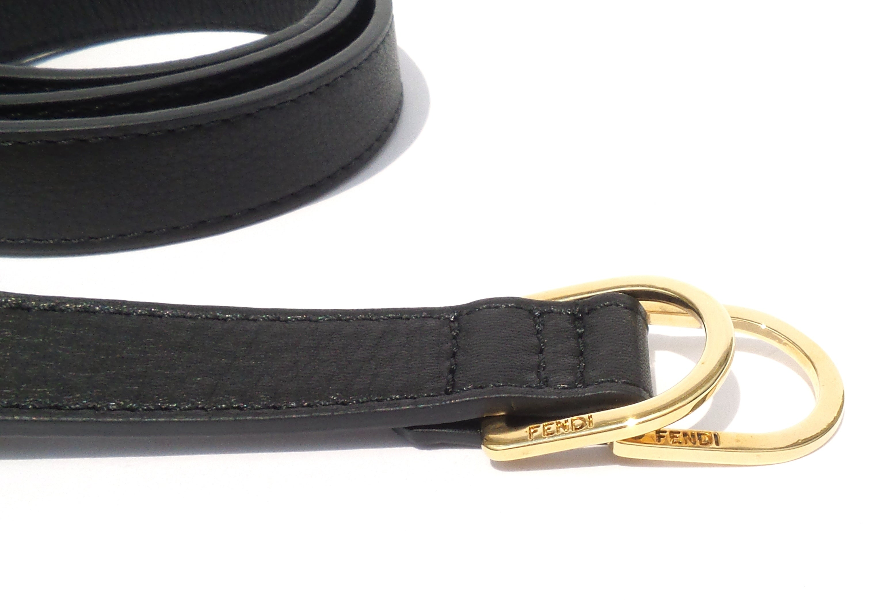 FENDI Black Leather Tortoise Gold Tone Link Chain FF Double D-Ring Waist Belt M