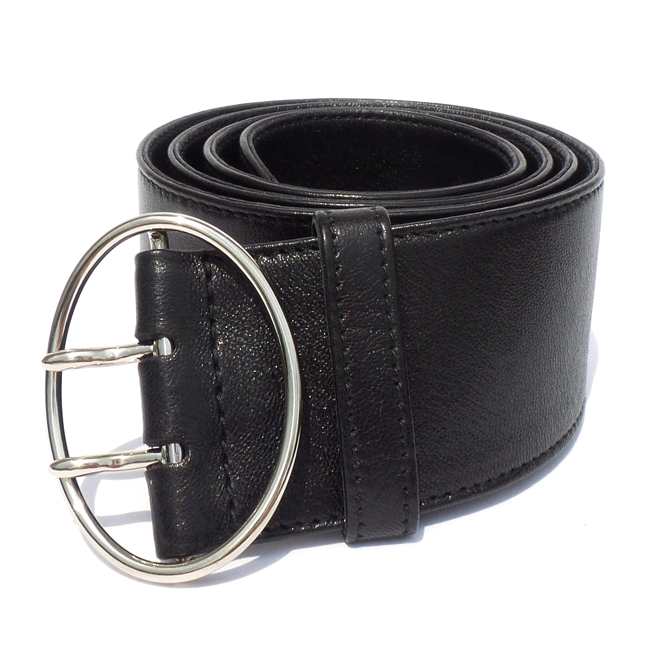 PRADA 1C5903 Black Leather Silver Oval Double Prong Buckle Wide Belt 85cm 34 EC