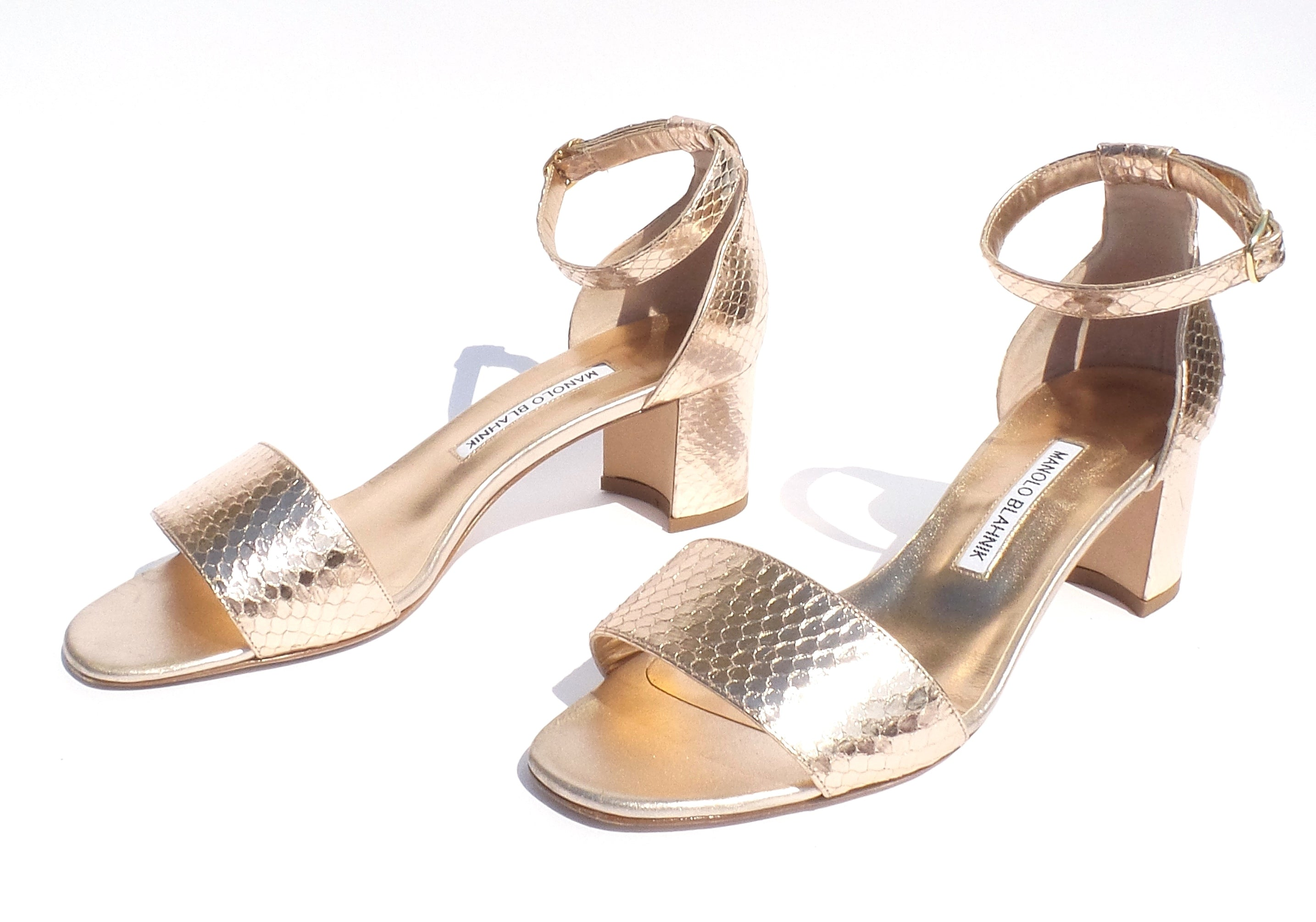 $795 MANOLO BLAHNIK Lauratom Rose Gold Snake Embossed Leather Block Heel Sandals 39