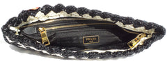 PRADA BP0515 Black White Raffia Crochet Pochette Woven Gold Zip Oversized Clutch