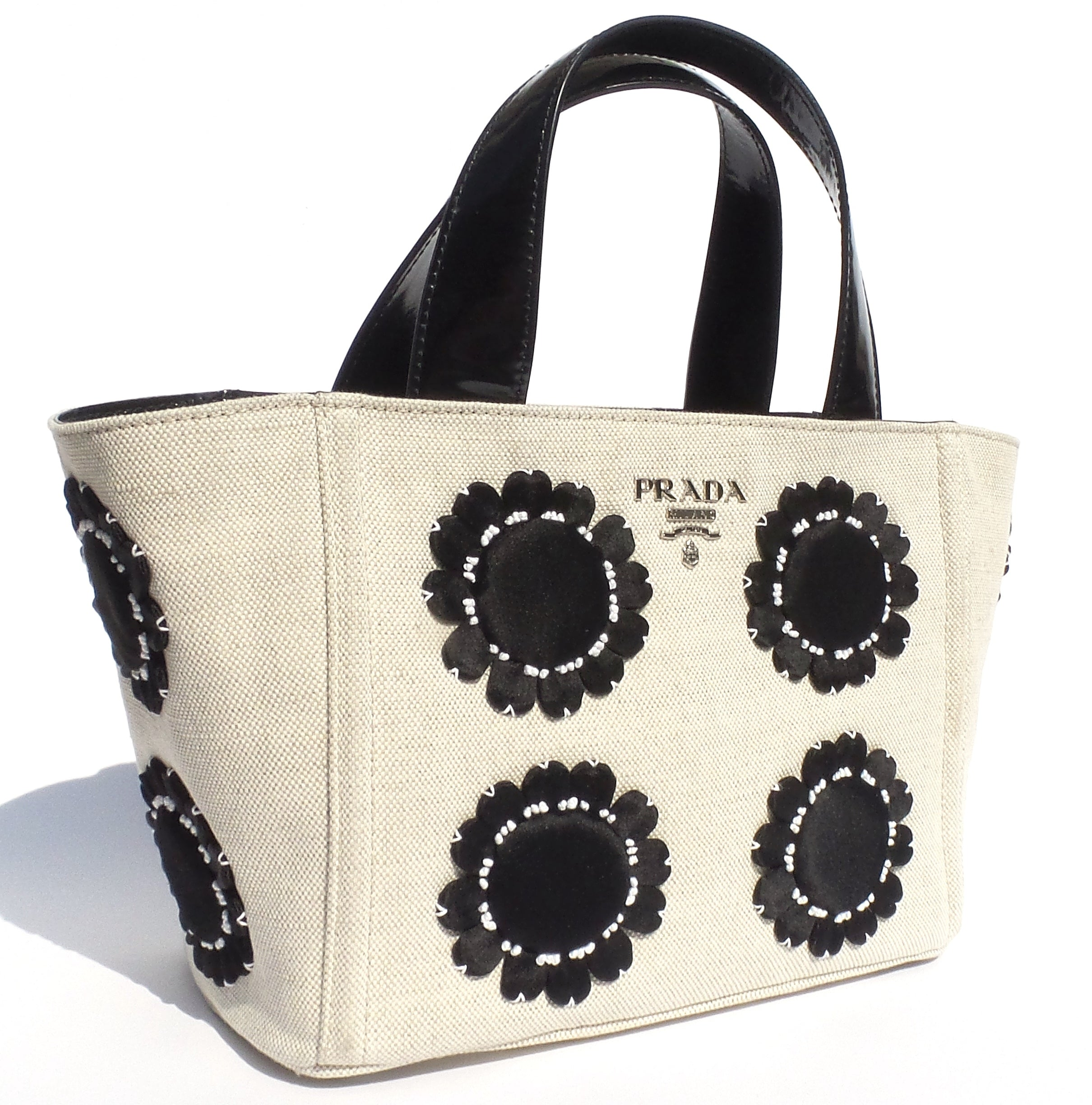 'Sold' PRADA Mistolino Beige Canvas Black Patent Satin Floral Applique Garders Tote Bag