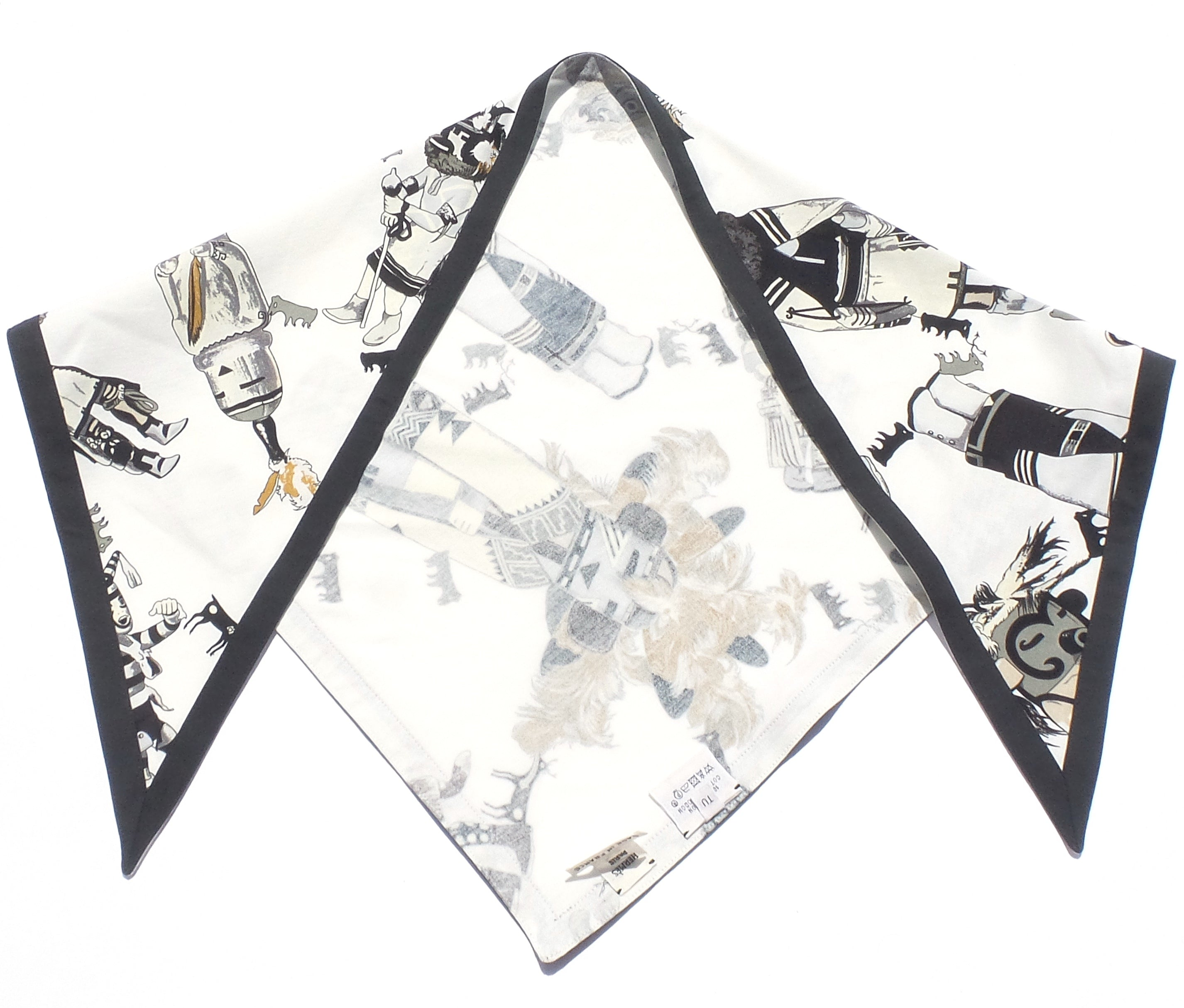 'Sold' HERMES Kachinas Hopi Indian Dolls White Black Cotton Triangle Scarf K Oliver GUC