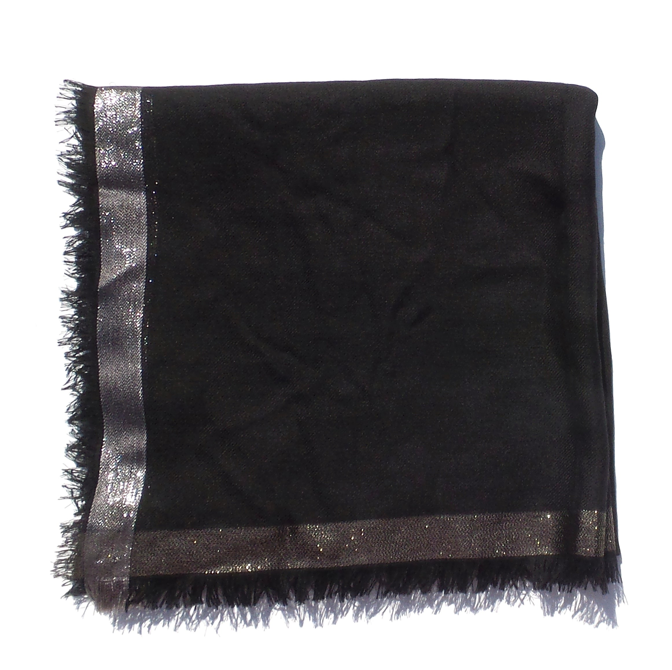 'Sold' LORO PIANA Quadrata Luna Black Metallic Edge Soffio Cashmere Silk Fringed Scarf