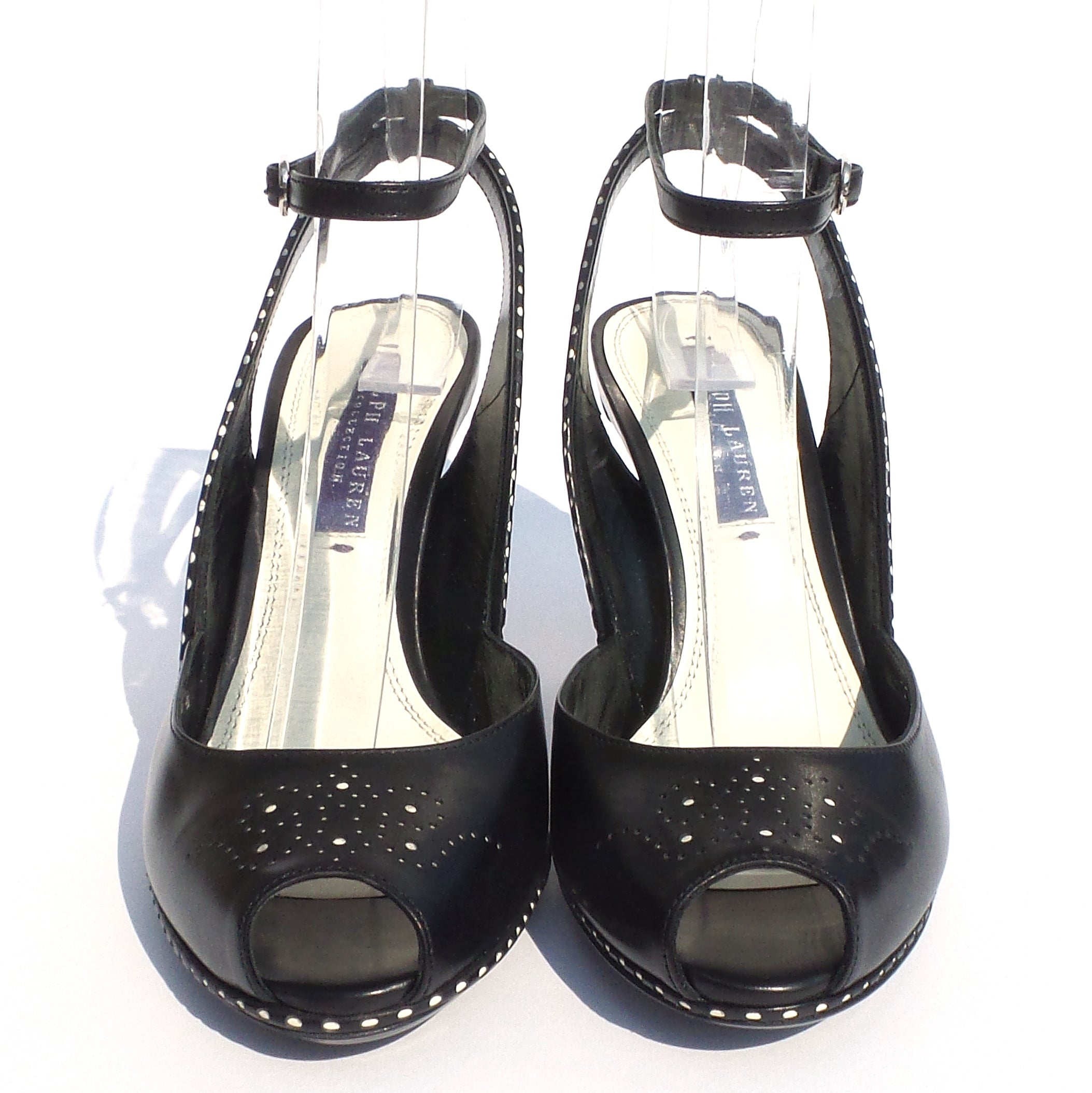 RALPH LAUREN Black Leather Peep Toe Perforated Slingback Sandals Pumps 5.5 B NWD