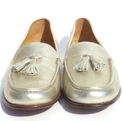GRAVATI Metallic Gold Leather Tasseled Moccasin Loafers Flats Italy 7.5 M $595