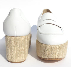 GABRIELA HEARST Brucco White Ivory Leather Jute Espadrille Platform Loafers 37.5