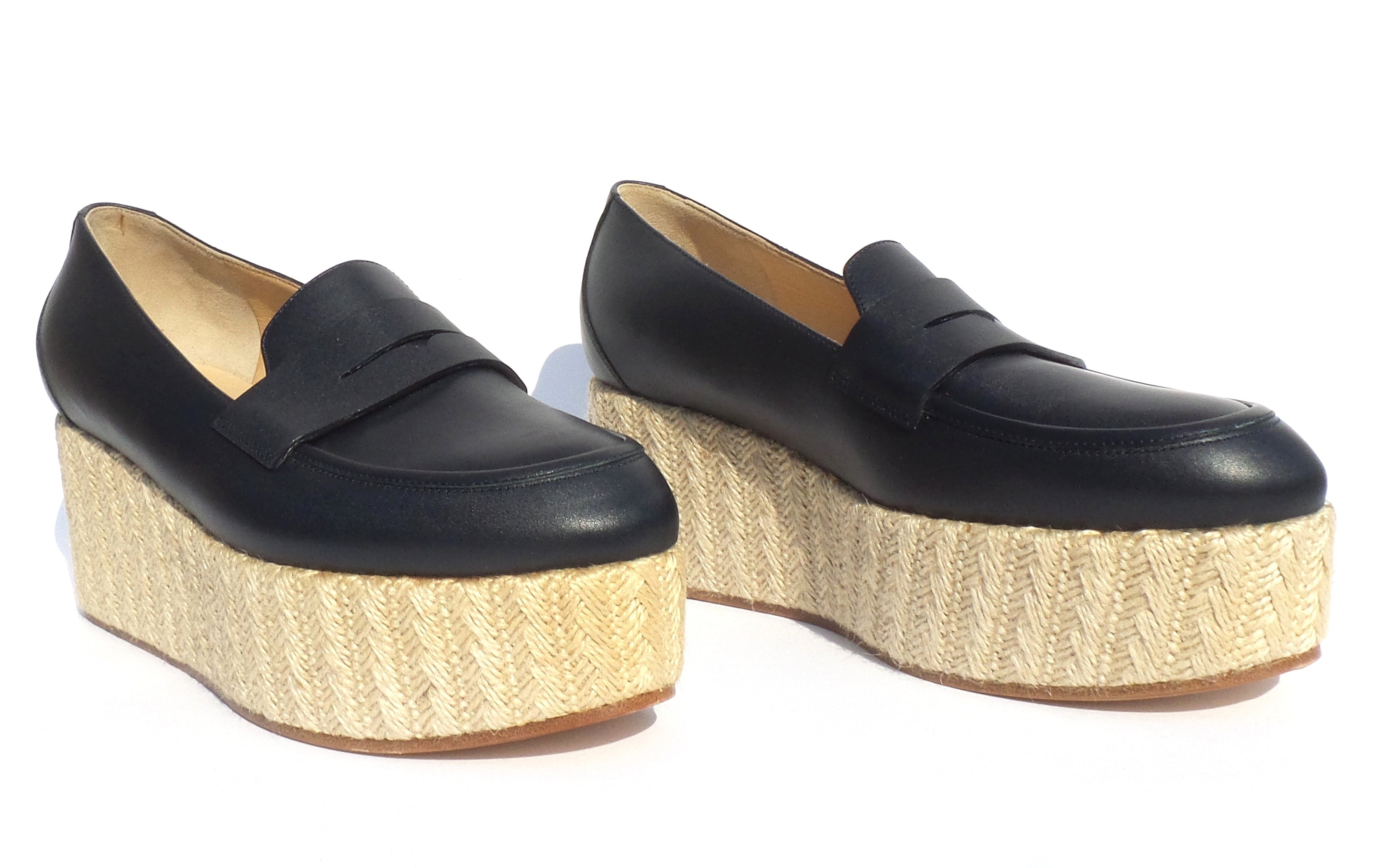 GABRIELA HEARST Brucco Midnight Navy Blue Leather Jute Platform Penny Loafers 37